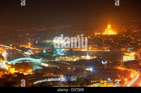Cityscape of Tbilisi in the evening. Georgia - Stock Photo