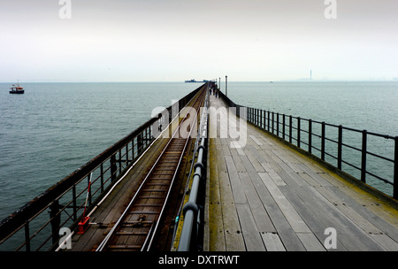 Southend-on-Sea, Essex, England. 30 March 2014 Southen Pier, the longest pleasure pier in the world. - Stock Photo