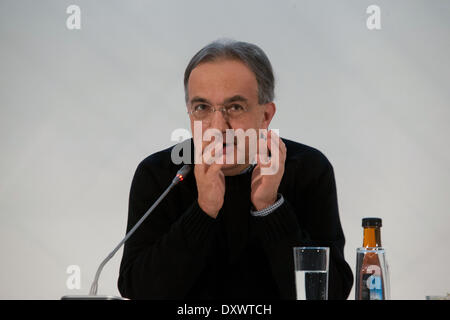 Turin, Italy. 31st Mar, 2014. Sergio Marchionne speaks at general Meeting of Fiat Shareholders, in Turin, Italy, - Stock Photo