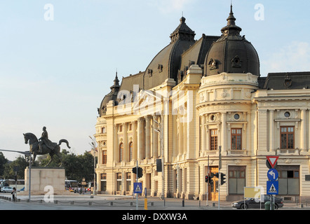 Central University Library of Bucharest, a city located in Romania - Stock Photo