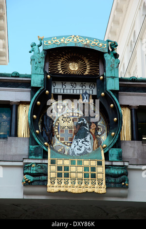 Anker Clock, Art Nouveau clock by Franz von Matsch in Hoher Markt Vienna - Stock Photo