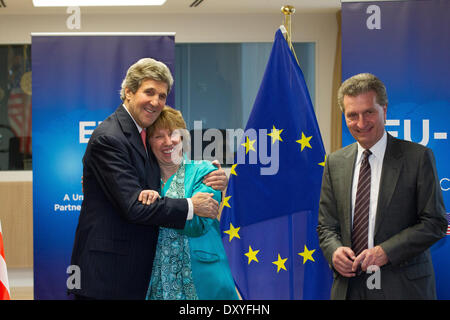 Pictured during his visit to the EU was US Secretary of State John Kerry with EU High Representative Catherine Ashton - Stock Photo