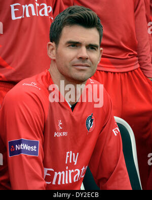 Lancashire County Cricket Club Press Day,  Manchester, UK  4th April 2014  James Anderson, Lancashire and England - Stock Photo