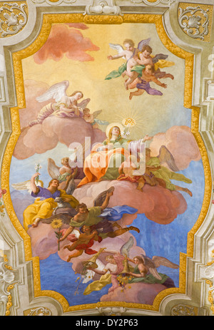 Vienna - Virgin Mary in heaven. Fresco over presbytery on the ceiling of baroque st. Annes church - Stock Photo