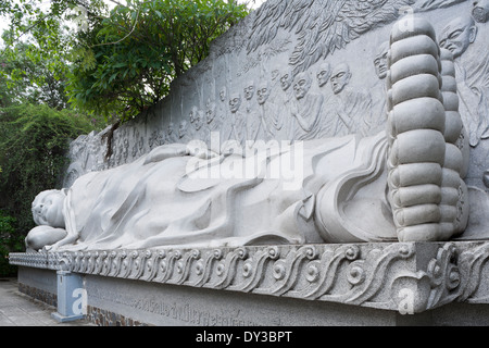Nha Trang, Vietnam, Southeast Asia. Reclining Buddha at Long Son Pagoda - Stock Photo
