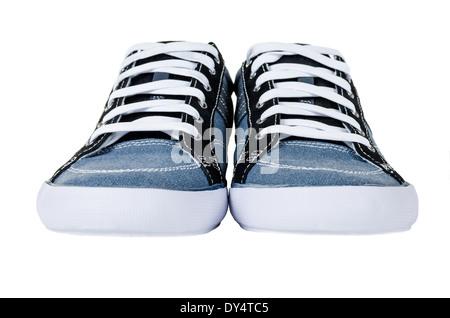 Modern blue gumshoes isolated on white background - Stock Photo