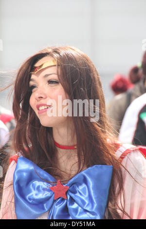Rome, Italy. 6th April 2014. People dressed as Cosplay characters at the Romics show in Rome. Credit:  Gari Wyn - Stock Photo