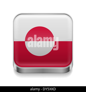 Metal square icon with flag colors of Greenland - Stock Photo