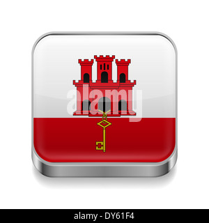 Metal square icon with flag colors of Gibraltar - Stock Photo