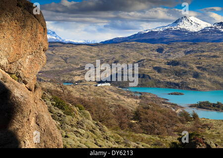 Explora Hotel Salto Chico on Lago Pehoe, from approach to Condor Vista Point, Torres del Paine National Park, Patagonia, - Stock Photo