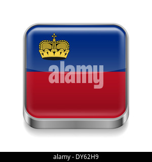 Metal square icon with flag colors of Liechtenstein - Stock Photo