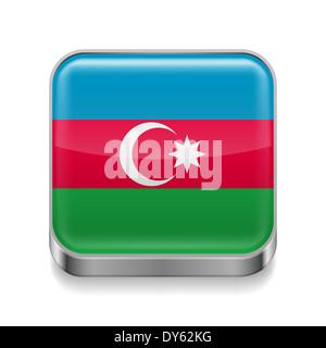 Metal square icon with  Azerbaijanian flag colors - Stock Photo