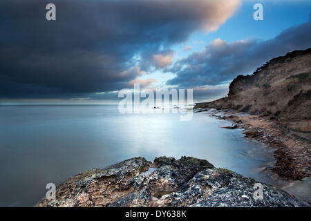 Fife coast at dusk near St. Andrews, Fife, Scotland, United Kingdom, Europe - Stock Photo