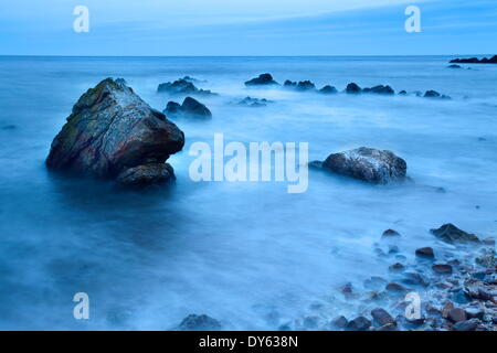 Rocks and sea on the Fife Coast near St. Andrews, Fife, Scotland, United Kingdom, Europe - Stock Photo