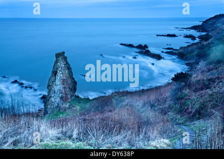 Rock Stack on the Fife Coast near St. Andrews, Fife, Scotland, United Kingdom, Europe - Stock Photo