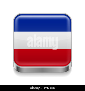 Metal square icon with Yugoslavian flag colors - Stock Photo