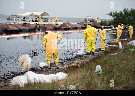 Responders work to clean up oil with absorbent pom-poms and rakes in one of the worst-hit areas from an oil spill - Stock Photo