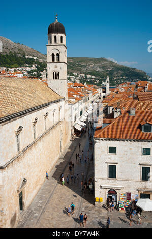 Franciscan Monastery, view from the city walls, with the main street Stradun or Placa in the historic centre, Dubrovnik - Stock Photo