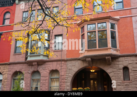 Harlem Row Houses in the Mount Morris Park Historic District, Autumn, New York, USA - Stock Photo