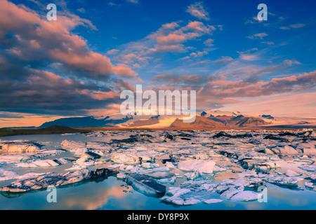 Sunrise at Jokulsarlon Glacier lake, south coast, Iceland - Stock Photo