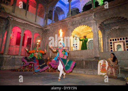 Dance performance show museum Bagore Ki Haveli Udaipur Rajasthan Asia India tradition folklore traditional national - Stock Photo