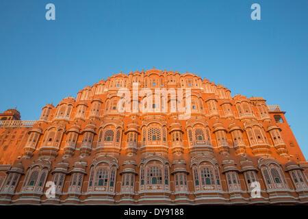 Palace of winds, palace, Rajasthan, Hawa Mahal, harem, town palace, Jaipur, Asia, India, - Stock Photo