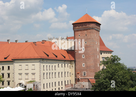 Tower of the medieval Wawel Castle in Krakow, Poland, Europe - Stock Photo