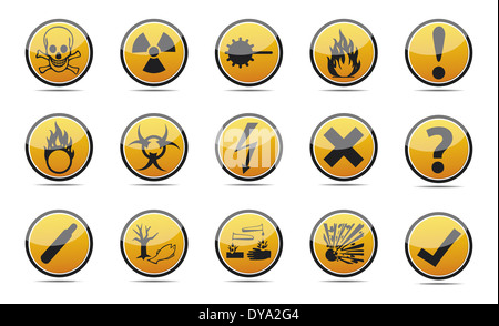 Isolated orange Circle Danger sign collection with black border, reflection and shadow on white background - Stock Photo