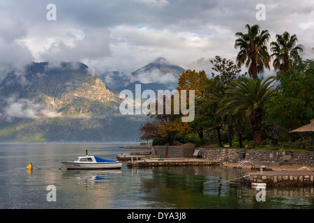 The waterside at Dobrota, Boka Kotorska (Bay of Kotor), Montenegro - Stock Photo