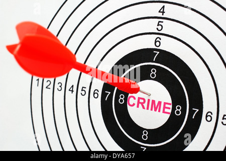 Crime text in target - Stock Photo