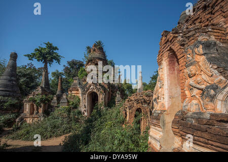 Indeinn, Inle, Myanmar, Burma, Asia, Stupas, hill, colourful, famous, history, natural, old, ruins, stupas, touristic, - Stock Photo