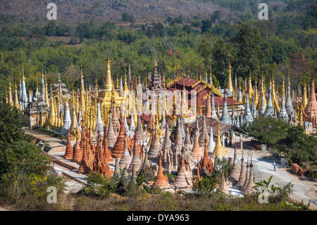 Indeinn Inle Myanmar Burma Asia architecture colourful exotic famous history landscape many natural old panorama - Stock Photo