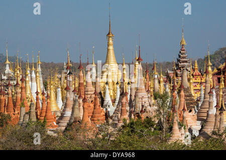 Indeinn Inle Myanmar Burma Asia architecture colourful exotic famous history landscape many natural old plenty remote - Stock Photo