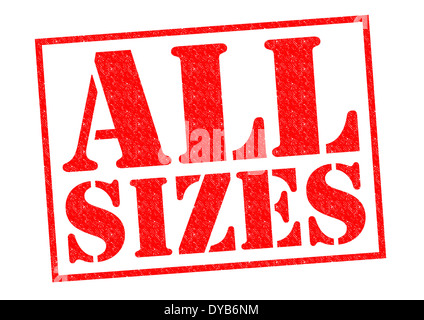 ALL SIZES red Rubber Stamp over a white background. - Stock Photo