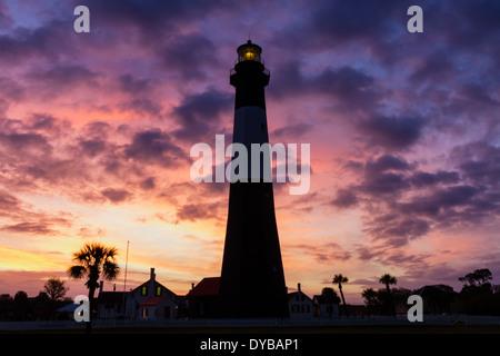 Sunrise at Tybee Island Light Station, Tybee Island, Georgia - Stock Photo