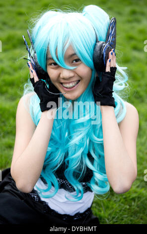 Berlin, Germany. 13th Apr, 2014. Minh Anh poses during the cherry blossom festival in Berlin, Germany, 13 April - Stock Photo