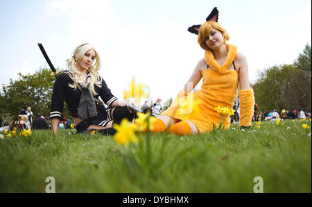 Berlin, Germany. 13th Apr, 2014. The cosplayer Franzsika (L, as 'Babydoll') and Sarah pose during the cherry blossom - Stock Photo