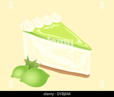 an illustration of a slice of delicious key lime pie with biscuit base cream filling and zingy lime fruit topping - Stock Photo