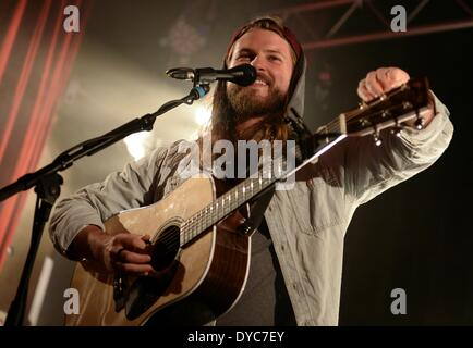 Berlin, Germany. 13th Apr, 2014. US singer Ian Hooper and Germany-based band Mighty Oaks perform in the sold-out - Stock Photo