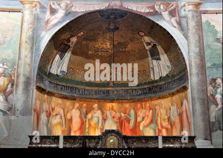 italy, rome, celio, church of santo stefano rotondo, Mosaico dei Santi Primo e Feliciano, early christian mosaic - Stock Photo