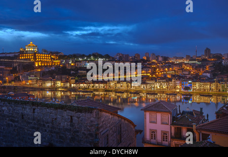 Night panorama of Porto and Vila Nova de Gaia, Portugal - Stock Photo