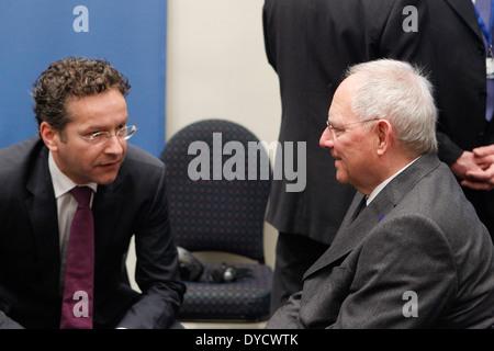 German Finance Minister Wolfgang Schaeuble speak with Jeroen Dijsselbloem( President of the Eurogroup) at the Informal - Stock Photo