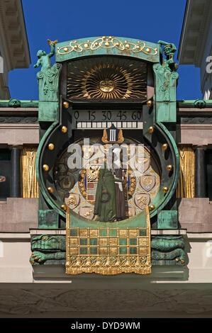Ankeruhr Clock in Ankerhof, by Franz von Matsch, Art Nouveau, 1913, Vienna, Vienna State, Austria - Stock Photo