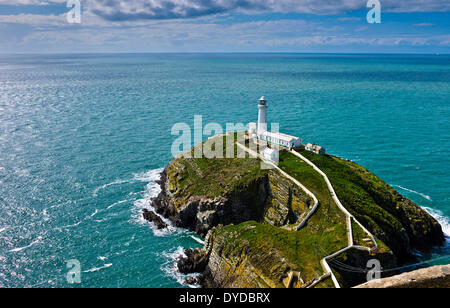 South Stack Lighthouse situated just off Holy Island on the North West coast of Anglesey. - Stock Photo