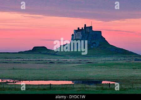 A view toward Lindisfarne castle. - Stock Photo