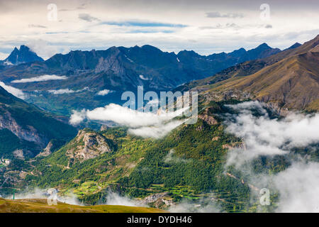 View from the ski area Panticosa over Valle de Tena in Sierra de Tendenera in the Pyrenees. - Stock Photo