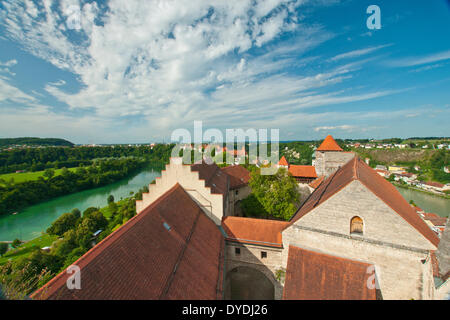 Bavaria Germany Europe building construction historical old wall architecture facade architecture style Burghausen - Stock Photo