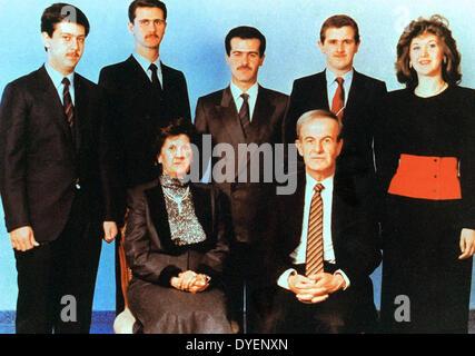 The Assad family circa 1992. Front row; Hafez al-Assad, - Stock Photo