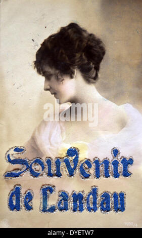 a postcard of a young woman sent by a French soldier in Landau, in occupied Germany after world war one - Stock Photo