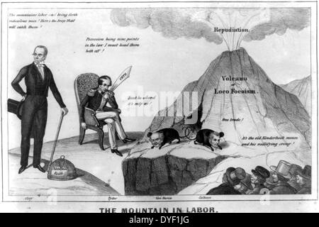 The mountain in labor, political cartoon. - Stock Photo